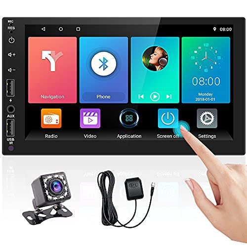 Hikity Android Autoradio 2 Din Bluetooth Auto Radio Navigation GPS 7 pollici Schermo tattile Auto Stereo Bluetooth FM Ricevitore Supporto WiFi Collegamento a specchio + Telecamera di backup