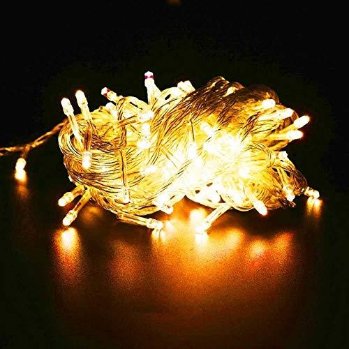 GFSDDS kerstverlichting vakantie krans lichtketting voor feestjes slaapkamer Kerstmis bruiloft sprookjes mini lampjes, geel, 110V