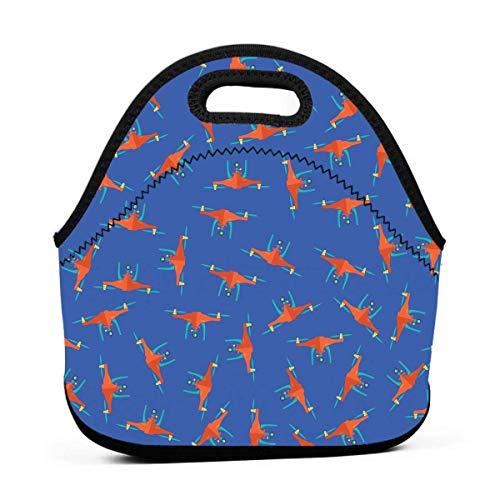 TTYIY Isolated Lunch Bag Geel Drone Patroon Bento Lunch Bag Thermische Koeler Lunch Pouch met Draagbare Draagtas voor Mannen & Vrouwen & Kinderen