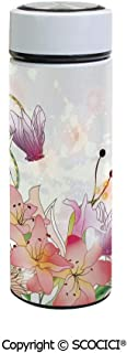 SCOCICI Vacuum Insulated Stainless Steel Water Bottle Flask Elegance Lily Blossoms in Soft Pastel Tones Enchanted Bridal Romance Kitsch Print