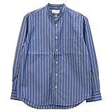 マニュアルアルファベット Manual Alphabet ストライプバンドカラーシャツ BASIC-BG-018 メンズ 日本製 長袖 1(S) NVY/BRN.ネイビー