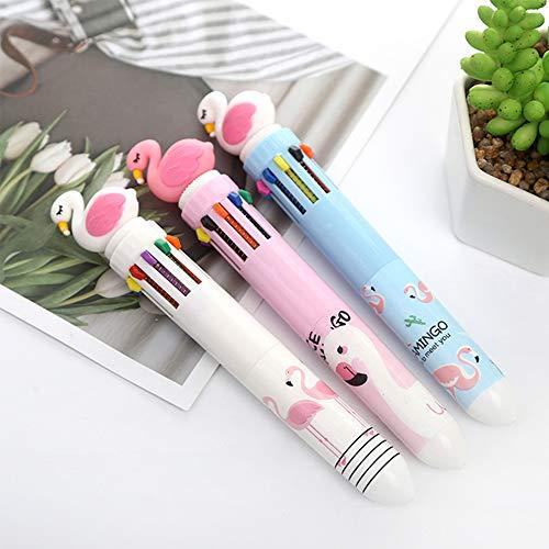 Lezed Flamingo Kugelschreiber mehrfarbig 10 Farbe Multicolor Einziehbare Tintenroller Stifte Tinte Barrel Gel Ink Kugelschreiber für Kinder, kleine Geschenke, Zubehör Office School Supplies 3 Stück