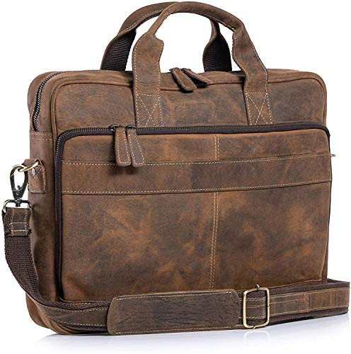 Leather Briefcase 18 Inch Laptop Messenger Bags for Men and Women Best Office School College Briefcase Satchel Bag