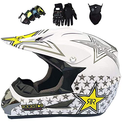 Casco de Motocross/Moto, Casco de Moto Cross, Casco de Motocicleta Todo Terreno Eléctrico MX MTB para Motocicleta Todo Terreno para Hombres Adultos Mujeres