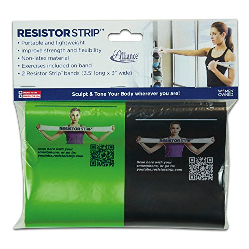 Alliance Rubber 09751 Non-Latex Resistor Strips Exercise Bands, 2 Pack (3.5' x 3')