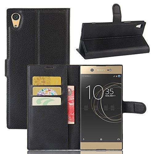 JARNING Compatible con Sony Xperia XA1 Ultra G3226 G3212 G3223 G3221 Fundas de PU Cuero Flip Carcasa Funda con Ranura de Tarjeta Cierre Magnético Kikstand -Negro
