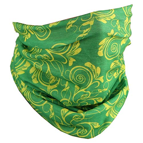 Seamless Face Mask Neck Gaiter Tube with Swirls and Leaves - Green Yellow