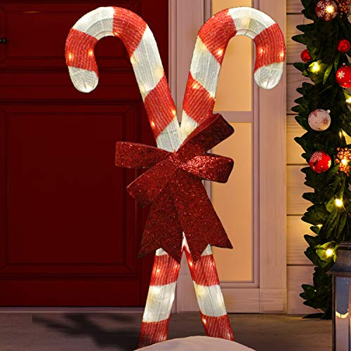 Joiedomi 2.78ft Tinsel Candy Canes 50 LED Warm White Yard Light for Christmas Outdoor Yard Garden Decorations, Christmas Event Decoration, Christmas Eve Night Decor