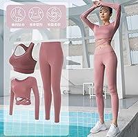 Cong-LL 女性ヨガ5ピースセットフード付きコート+セクシーブラ+ Tシャツ+ショーツ+パンツフィットネスジムスポーツウェア屋外ランニングスーツセット (Color : 3 piece set e, Size : M)
