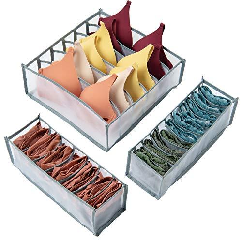 BOZKAA 3 Stück Schubladen Organizer, Faltbar Aufbewahrungsbox, zum Aufbewahren von Socken, Büstenhalter, Schals Schubladen Ordnungssystem (Grau)