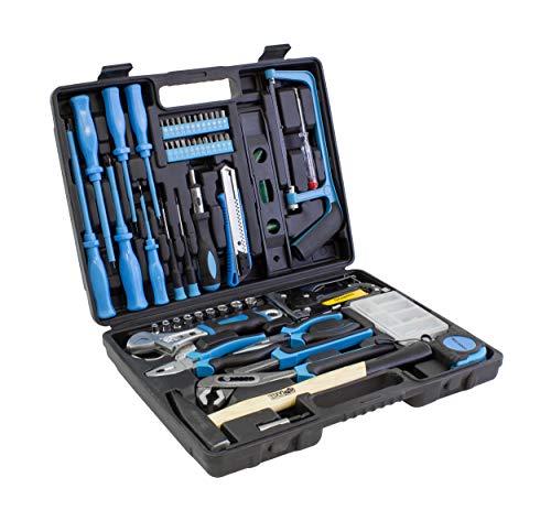 Karcher Werkzeugkoffer - 60-teiliges Werkzeugset aus Chrom Vanadium & Karbonstahl mit Hammer, Schraubendreher, Wasserwaage, Säge uvm.