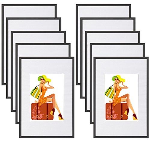WOLTU Lot de 10 Cadre Photo 20x30cm en Plastique pour Chambre/Bureau/Salle d'étude,Noir BR9861sz-10