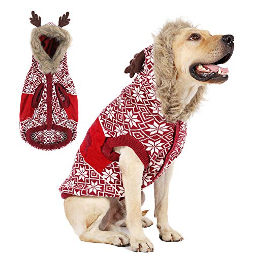 EMUST Christmas Dog Sweaters for Small Medium Dogs, Thick Knitted Fleece Xmas Reindeer Holiday Festive Winter Warm Dog Hoodie Cute Puppy Dog Clothes Coat Costume, Classic Red