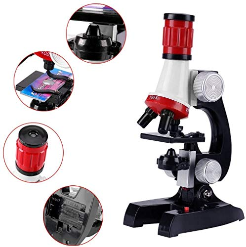 MAZI Children's Microscope, 1200X, 400X, 100X Computer Science Microscope with LED Lights, Including Toy Kit for Beginners Early Learning