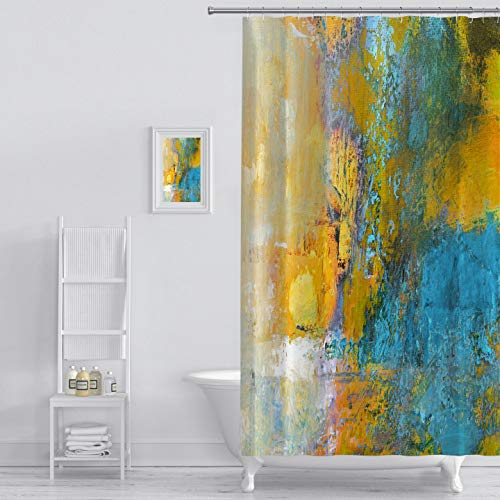 MuaToo Shower Curtain Abstract Original Painting On Polyester Sun Ball in Yellow and Turquoise Art Print Polyester Fabric Bathroom Decor Sets with Hooks 72 x 72 Inches, Yellow