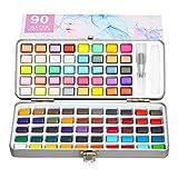 Aquarellfarben Set, Metallische Premium Glitzer Aquarellfarbkasten Set Inklusive 90 Farben Portable Pearlescent Iridescent Solid Watercolor Pigment Paint Set