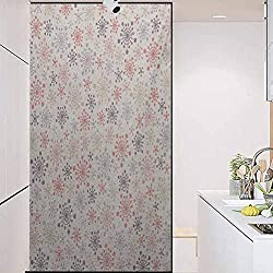 wonderr Vinyl 3D Decorative Window Stickers, Winter Childhood Themed Cute Pattern with Pale Colored, Home Bathroom Toilet Decorative, W23.6xH35.4 Inch
