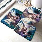 Fantasia Mi-ck-ey Mo-use - Juego de 3 alfombrillas de baño, absorbentes, almohadillas antideslizantes, almohadillas de contorno + tapa de inodoro
