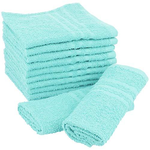 COM-FOUR® 12x washandje 30x30 cm, badstof handdoek van 100% katoen, pastelkleurige zeephanddoeken en gastendoek [selectie varieert] (Set 3 - Schoonmaakdoeken 12 stuks)