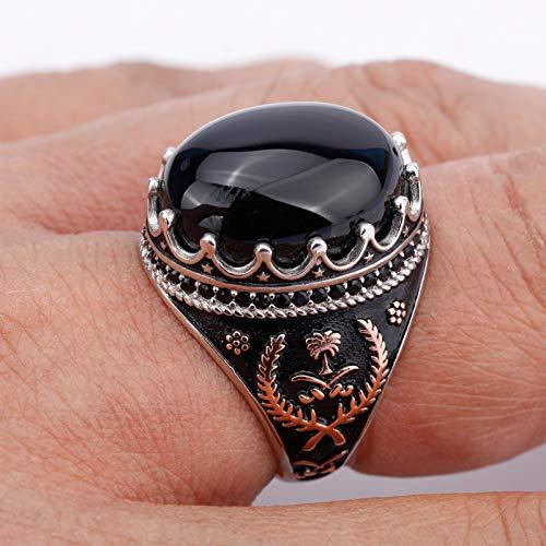 AGBFJY 925 Sterling zilveren herenring met ovale zwarte natuursteen ring, geschikt voor herenklaver Symmetrie mode