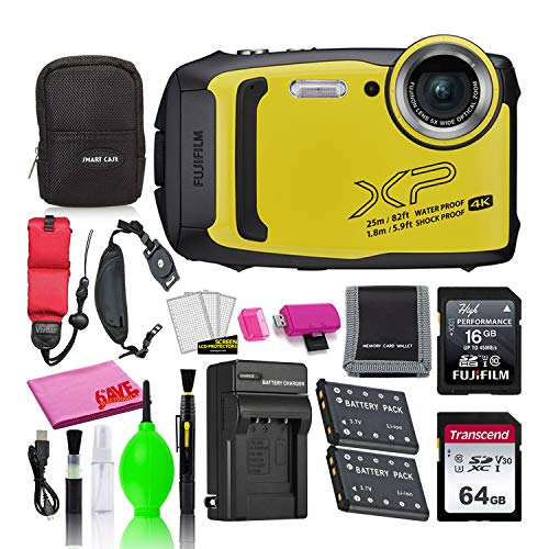 Fujifilm FinePix XP140 Waterproof Digital Camera (Yellow) Accessory Bundle with 80GB SD Card + Small Camera Case + Extra Battery + Battery Charger + Floating Strap + More