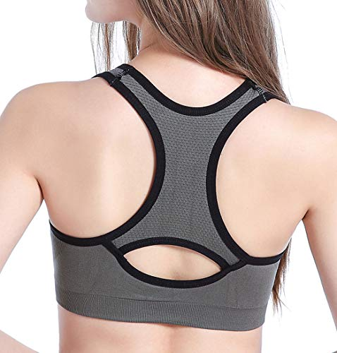 Racerback Sports Bras for Women, High Impact Wirefree Padded for Yoga Workout Gym Activewear Fitness Bra (Medium) Grey