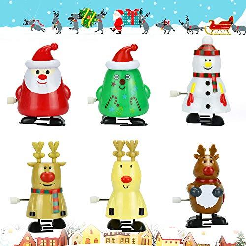 AFASOES 6 Stück Weihnachten Uhrwerk Spielzeug Deko Aufziehspielzeug Aufzieh Tier Wind Up Partygeschenk Aufziehfiguren Uhrwerk spielzeuge für Kinder Weihnachten Weihnachtsmann schneemann