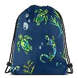 Mochila deportiva con cordón y diseño de tortuga para gimnasio, bolsa de viaje para niños, hombres y mujeres