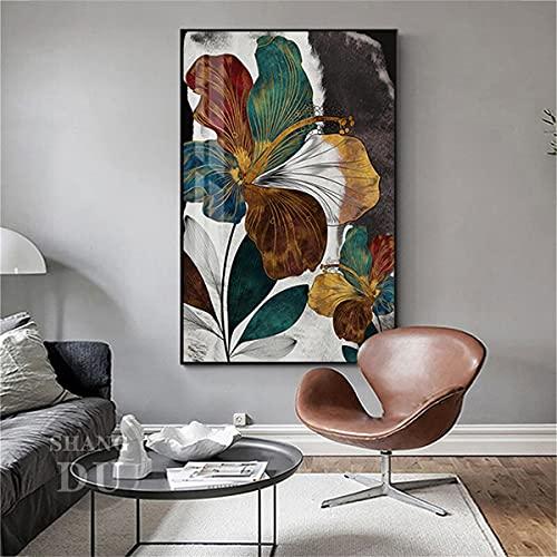 Kingkoil Abstracto Hibiscus Vintage Flores Cartel Floral Planta Pared Arte Líneas Colorido Lienzo Pintura Imagen Pared Arte Sala De Estar Decoración 20x30cm Inner_Framed