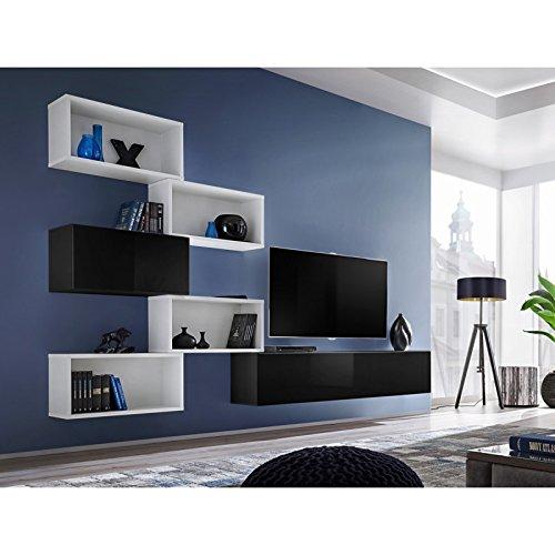 Paris Prix - Meuble TV Mural Design blox VIII 280cm Blanc & Noir