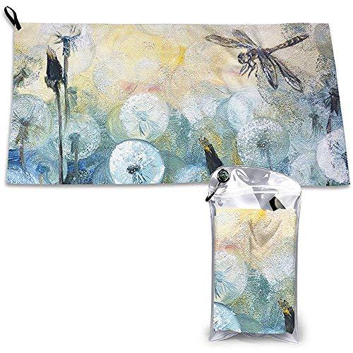 Schilderij Dragonfly En Paardebloem Patroon Sport Reizen Handdoek Lichtgewicht, Compact, Snel Drogen, Handdoek Voor Reizen