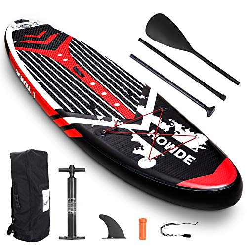 Homde Upgrade Version Inflatable Stand Up Paddle Board (6 Inches Thick) with SUP Accessories & Carry Bag | Bottom Fin for Paddling, Surf Control, Non-Slip Deck, Adjustable Paddle and Hand Pump