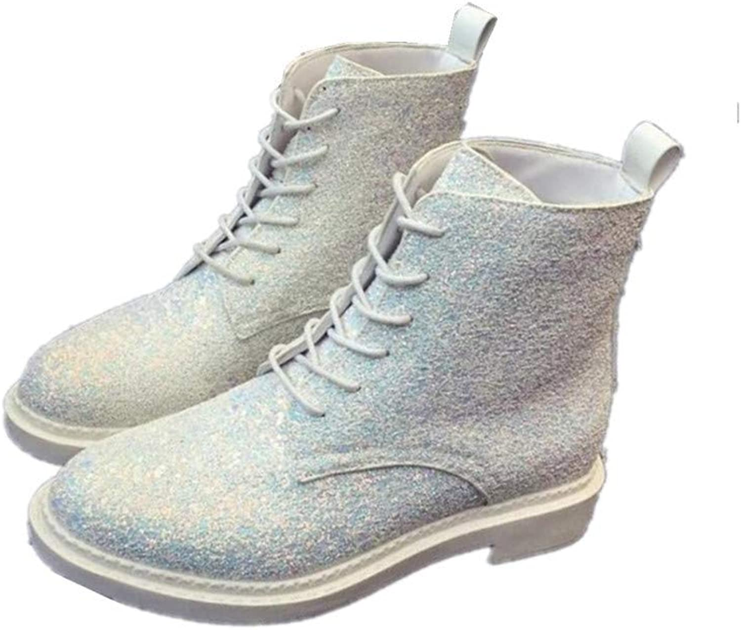Meimeioo Women's Glitter Sequins Low Chunky Heels Lace Up Martin Ankle Boot Short Booties