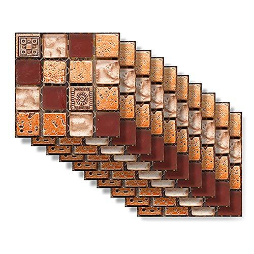 Juego de 10 adhesivos para azulejos de cocina, diseño de mosaico, adhesivos impermeables (MSC043)