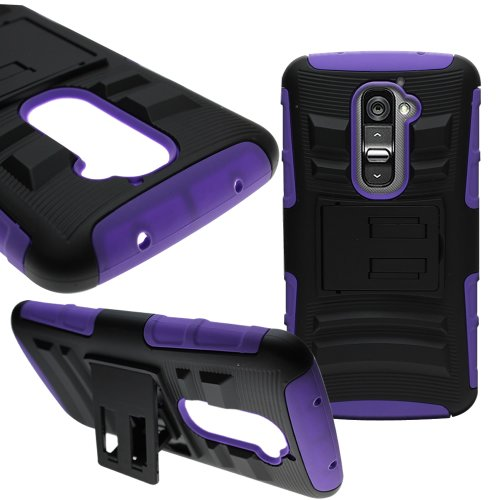 CoverON Hybrid Heavy Duty Case with Hard Kickstand Belt Clip Holster for LG G2 - Purple Soft Silicone Black Hard Plastic