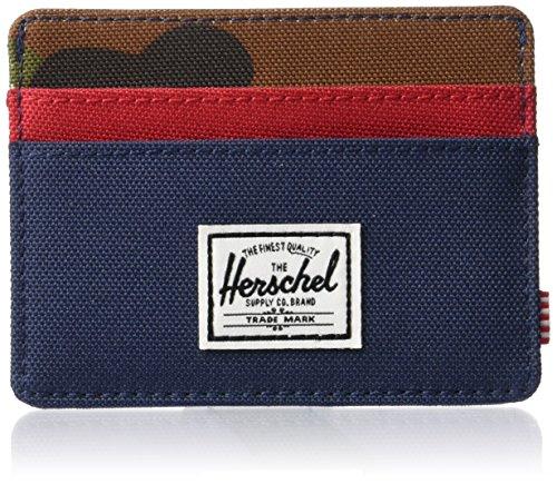 Herschel Supply Charlie RFID Billetera Tipo Tarjetas, Azul Marino/Camuflaje Bosque/Rojo, Taille Unique para Hombre