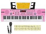 Hricane Teclado electrónico de 61 teclas para niños, el instrumento de piano electrónico portátil para principiantes con micrófono, atril, pegatina (rosa)