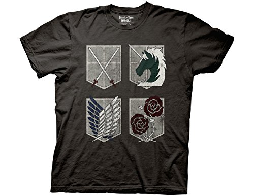 Ripple Junction Attack on Titan 4 Shields Adult T-Shirt Small Charcoal