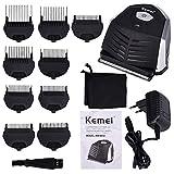 Kemei, mini rasoio elettrico portatile senza fili per barba, rasoio professionale 3 in 1, 9 pettini