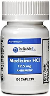 RELIABLE 1 LABORATORIES Meclizine HCL 12.5 mg Caplets - Prevent nausea, vomiting, and dizziness caused by motion sickness (100 Caplets, 1 Bottle)