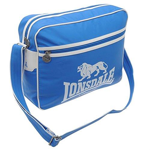 Lonsdale - Borsa a tracolla da viaggio, borsa portatutto, colore: blu e bianco