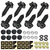 ZXFOOG Black License Plate Screws- Stainless Steel Screws Fastener Kit Rust Proof, M6X20mm Metric 1/4