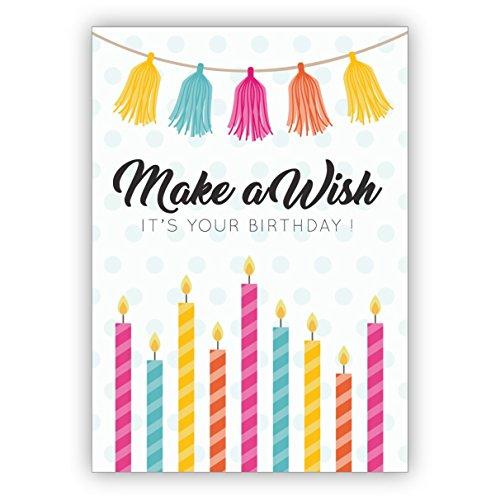 In 5-delige set: Coole verjaardagskaart met envelop ook als voucher met bonte kaarsen: maak een wish it's your birthday!