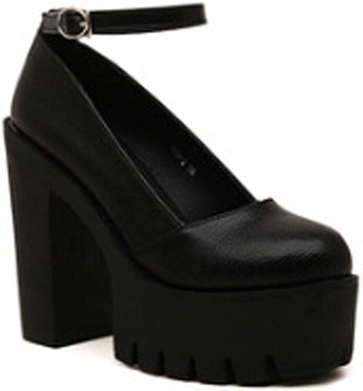Ladola Womens Round-Toe Platform Chunky Heels Adjustable-Strap Urethane Pumps shoes