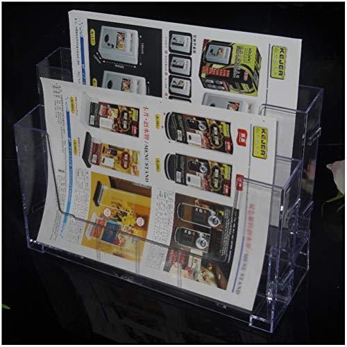 GFPR A4 Prospekthalter- 2-stufiger Prospekt Display-Ständer aus Klarem Acryl - 33 * 9 * 24cm Präsentationsständer,Bücher, Zeitschriften