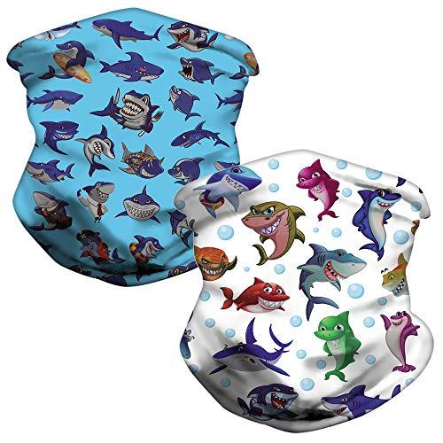 LOZACHE 2pcs Shark Neck Gaiters for Kids Sun UV Protection Face Cover Neck Gaiter Windproof Scarf Dust Breathable Bandana for Sport Outdoor (Shark 01)