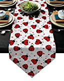 Cotton Linen Table Runner Cartoon Ladybug Pattern 16x72 Inch Burlap Table Runners for Party Wedding Dining Farmhouse Outdoor Picnics Table Top Decor- Red