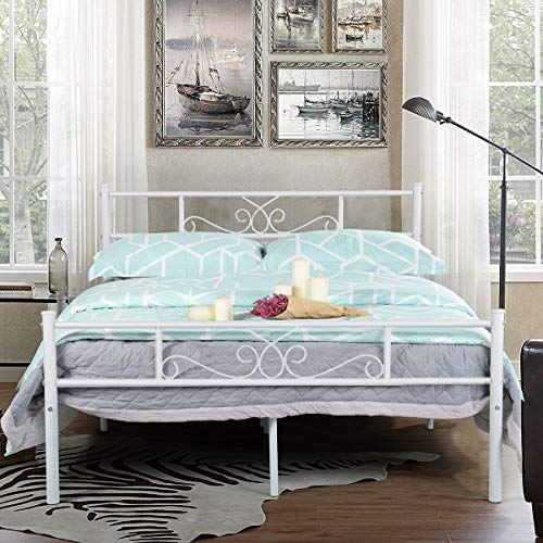 SimLife Full Size White Bedframe Metal Bed Frame with Headboard and Footboard Mattress Foundation Support Platform Bed No Box Spring Needed, Popular Style !!Strong Solid Best Choice