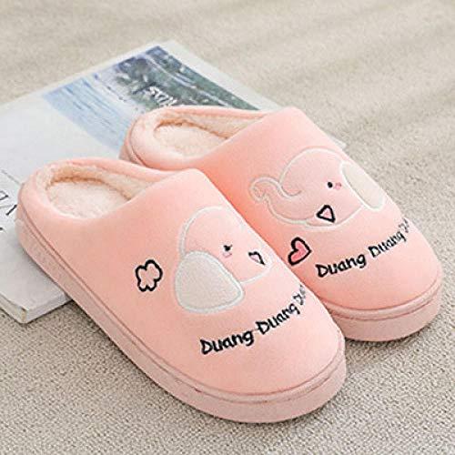 Nwarmsouth Zapatillas de casa Invierno Suaves Peluche,Zapatillas cálidas de Suela Gruesa, Zapatos de algodón Antideslizantes para el hogar-Pink_36-37,Zapatillas de casa Comfort Slippers para Hombres