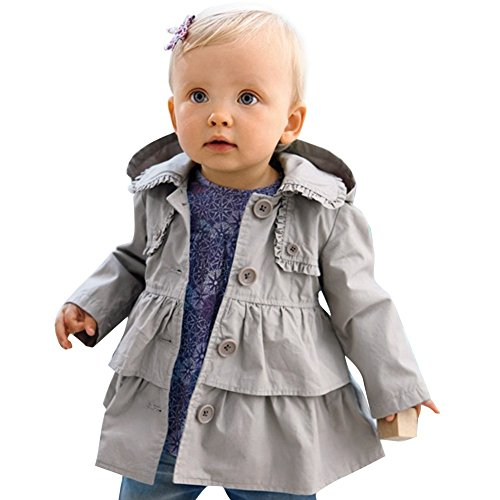 TiaoBug Baby Mädchen Kinder Jacke Trenchcoat Winter Mantel mit Kapuzen Frühling Herbst Windbreaker Mode Oberbekleidung Outerwear Gr. 80 92 98 104 110 Grau 104 (Herstellergröße: 110)